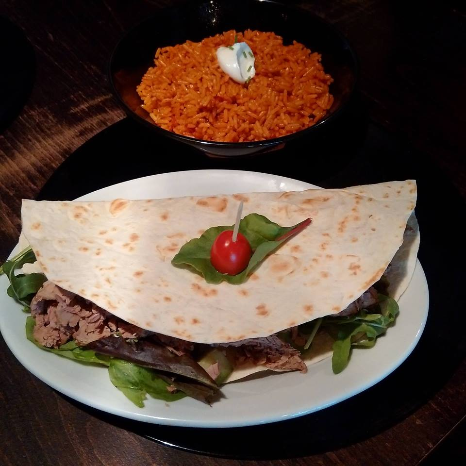 BRISKET SALAD WRAP AND MEXICAN RICE