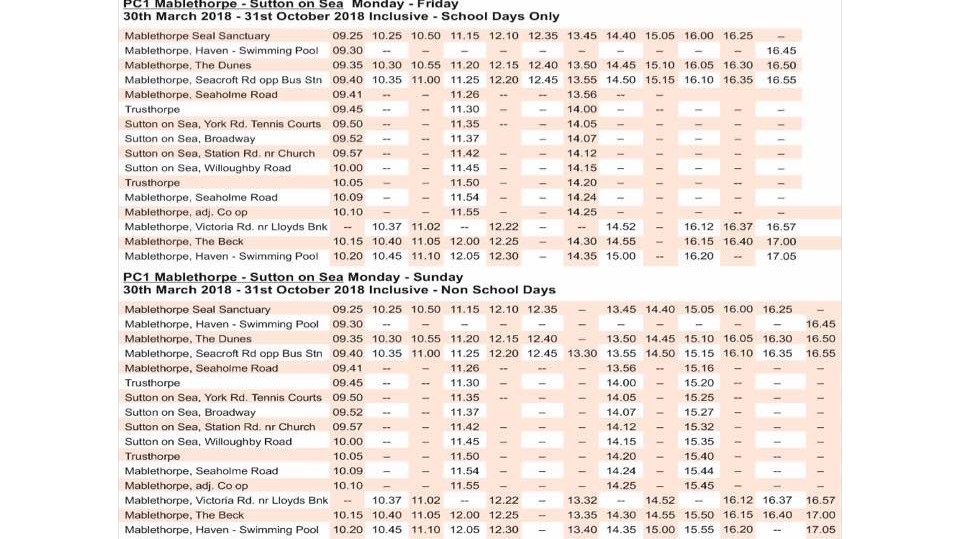 BUS TIMETABLE FOR P.C COACH IN MABLETHORPE